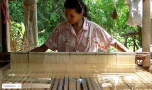 Hand-weaving Fair Trade silk in Cambodia