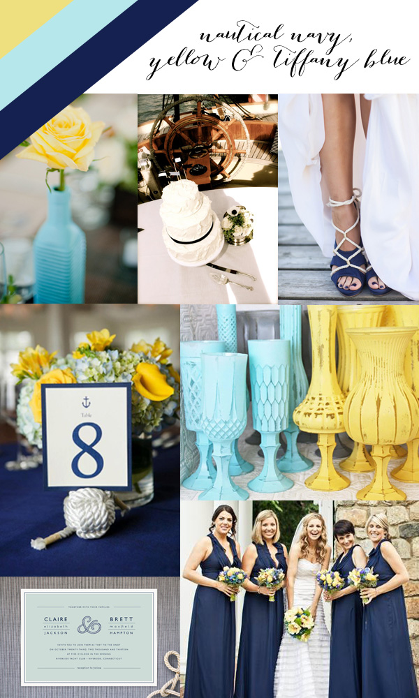 Color Crazed Nautical Navy Yellow Amp Tiffany Blue Indie Wed