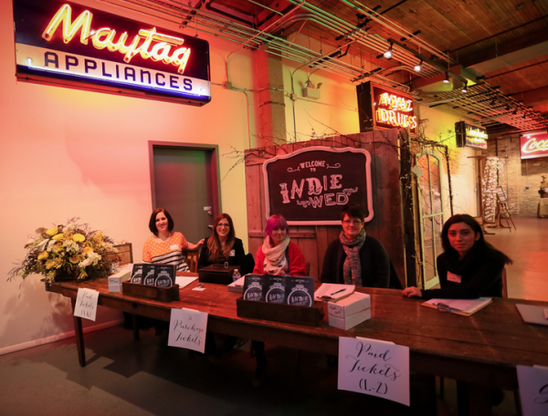 Some of the Indie Wed staff with rentals via A La Crate Vintage Rentals